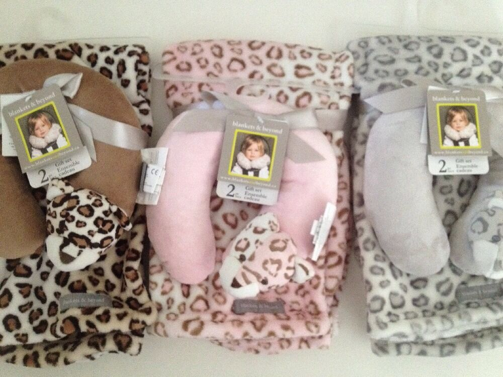 Throw Blanket And Pillow Set : Blankets And & Beyond Baby Boy Girl Travel Pillow Set Brown Pink Grey Cheetah eBay
