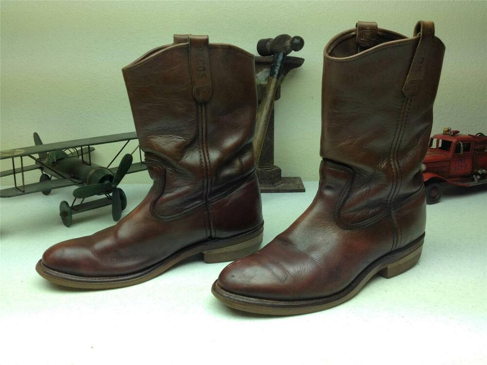 VINTAGE BROWN LEATHER RED WING PECOS ENGINEER MOTORCYCLE WORK BOOTS SIZE 9.5 E | eBay