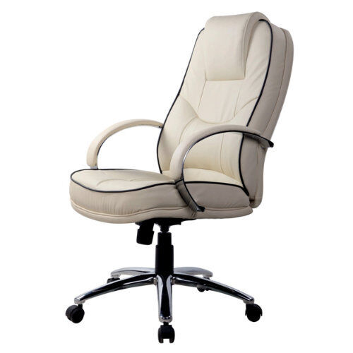 leather faced exec swivel computer office chair in cream ebay