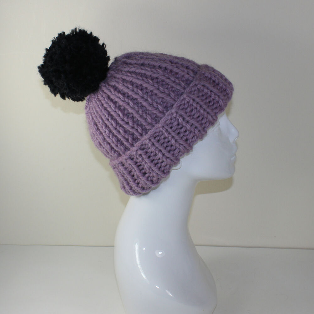 Knitting Pattern Ribbed Bobble Hat : PRINTED INSTRUCTIONS -SUPER CHUNKY RIB BOBBLE BEANIE HAT ...