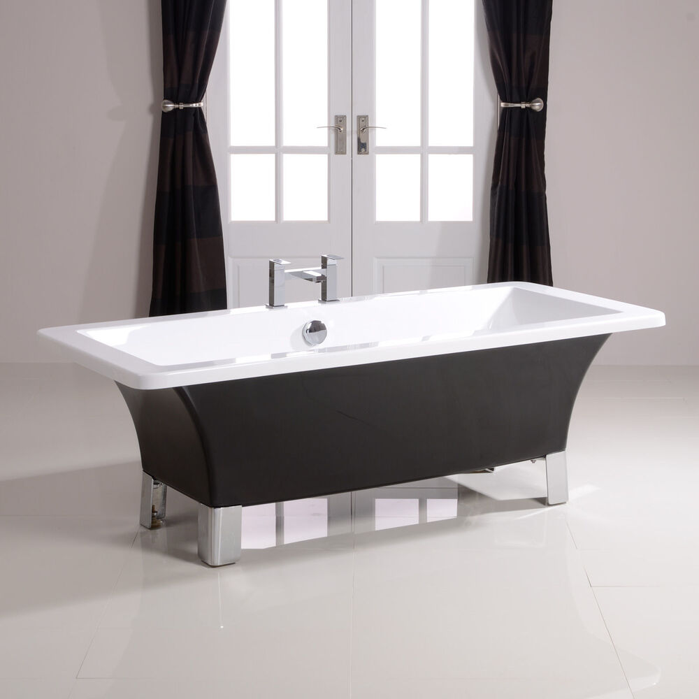 1700mm black freestanding bath tub modern roll top for Square baths