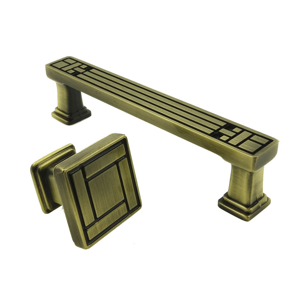 Antique bronze cabinet square knob handles drawer pull for Small door knobs and handles