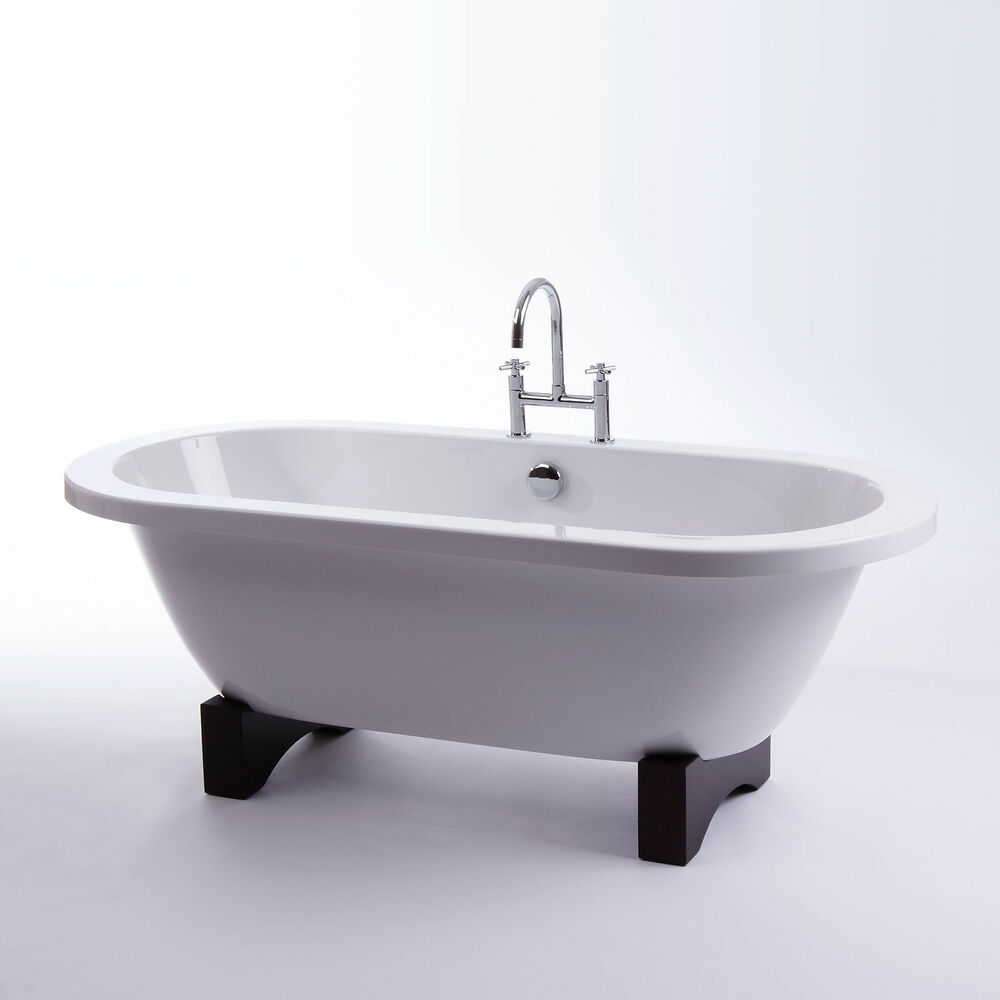 Freestanding Bath Roll Top Bath Bathroom Suite Double Ended 170 Wooden Feet I