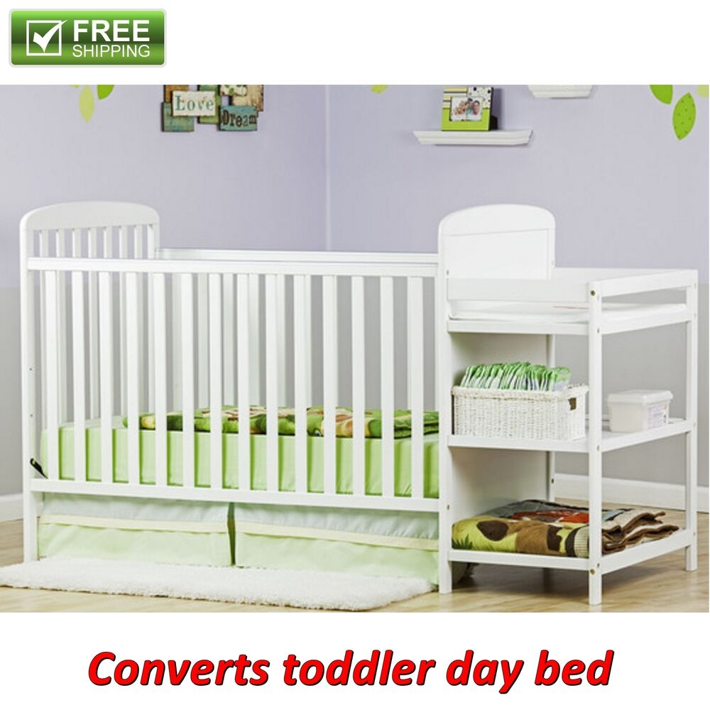 full size crib with changer white 2 in 1 toddler kid bed. Black Bedroom Furniture Sets. Home Design Ideas