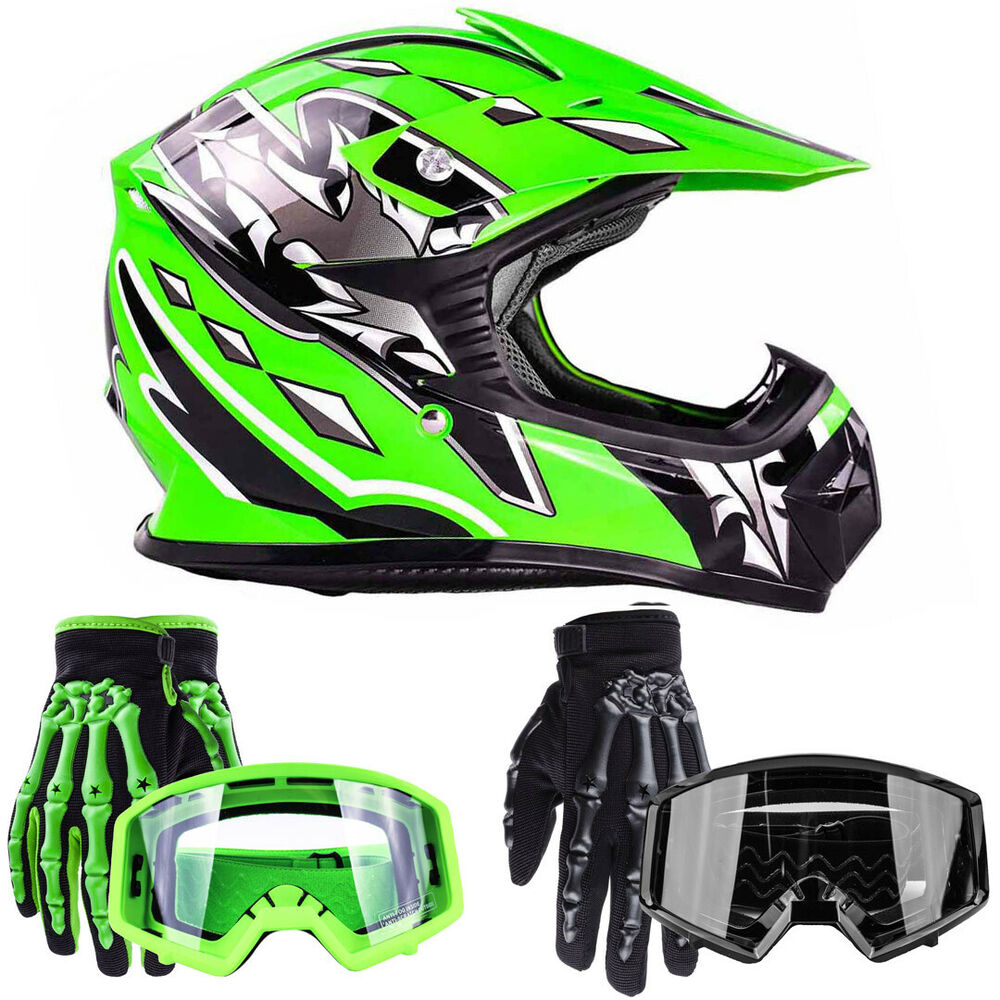 Kids Motocross Youth ATV Green Helmet w/ Gloves and Goggles Motorcycle ...