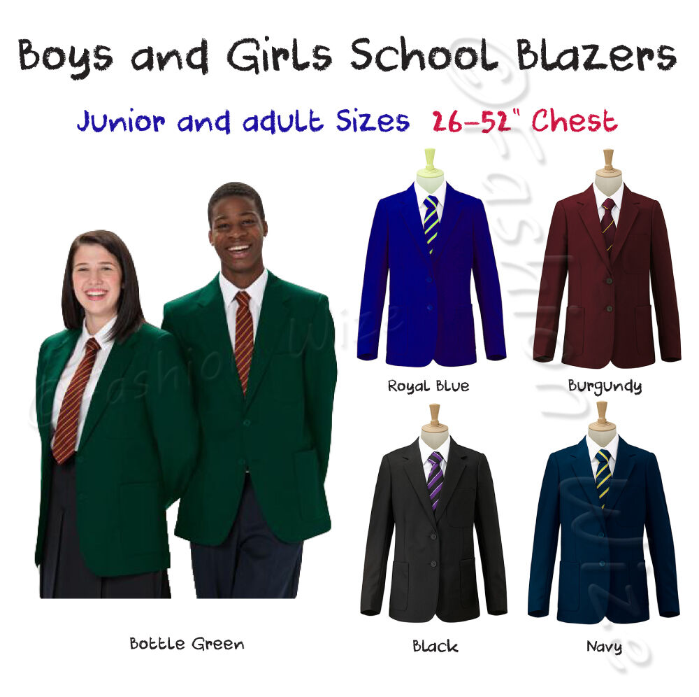 Boys Girl School Blazer Jacket Uniform Black Royal Blue