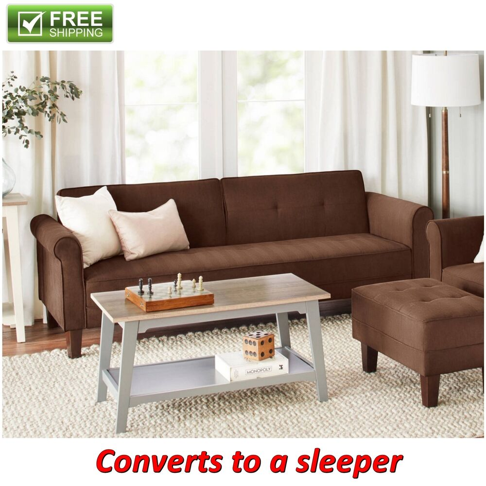 Microfiber Sofa Bed Brown Futon Convertible Couch Sleeper