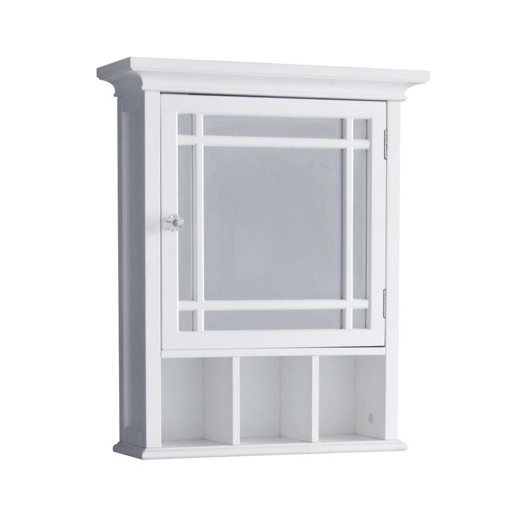 Neal wall mount medicine cabinet w 1 mirror door cubbies - Bathroom mirrors and medicine cabinets ...
