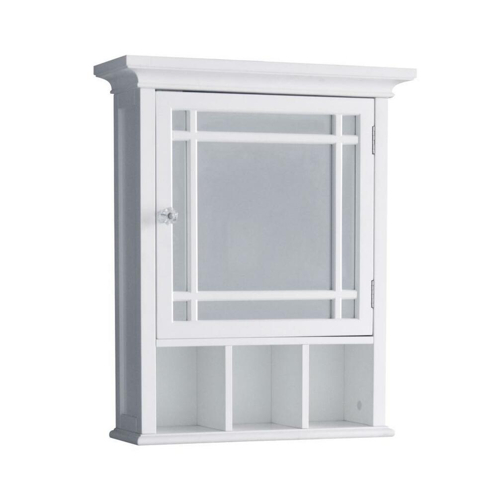 wall mount medicine cabinet w 1 mirror door cubbies for bathroom