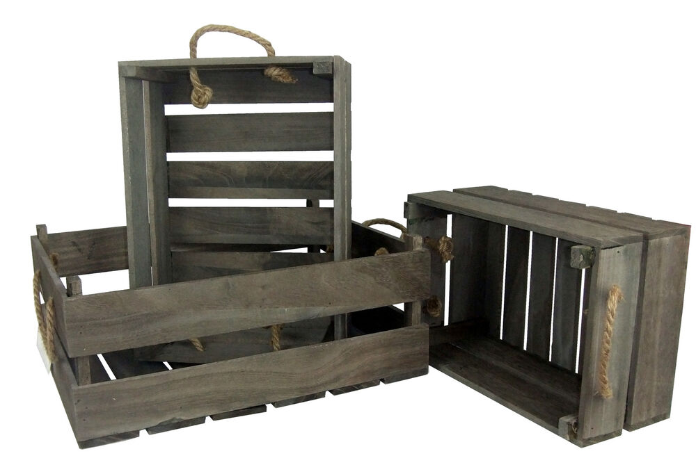 Rustic Wooden Crates  X Shabby Grey Brown Wood Rope Storage Boxes