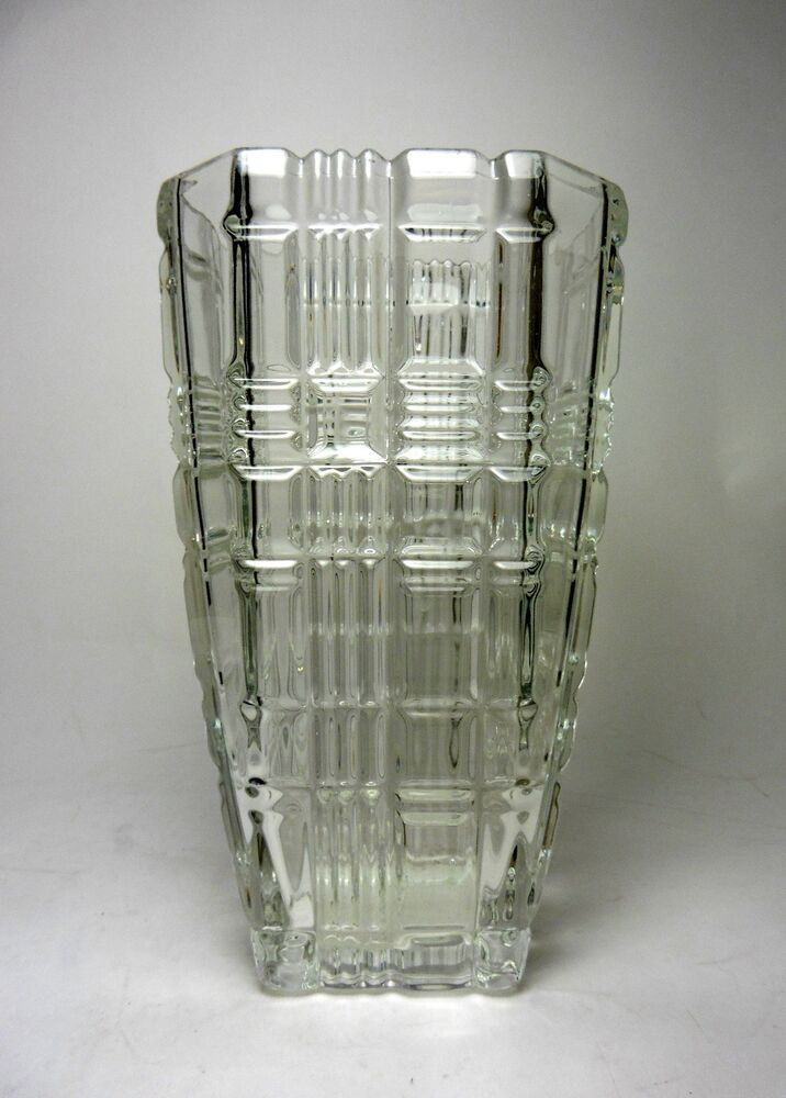 Clear Glass Vase Tall Square Geometric | eBay