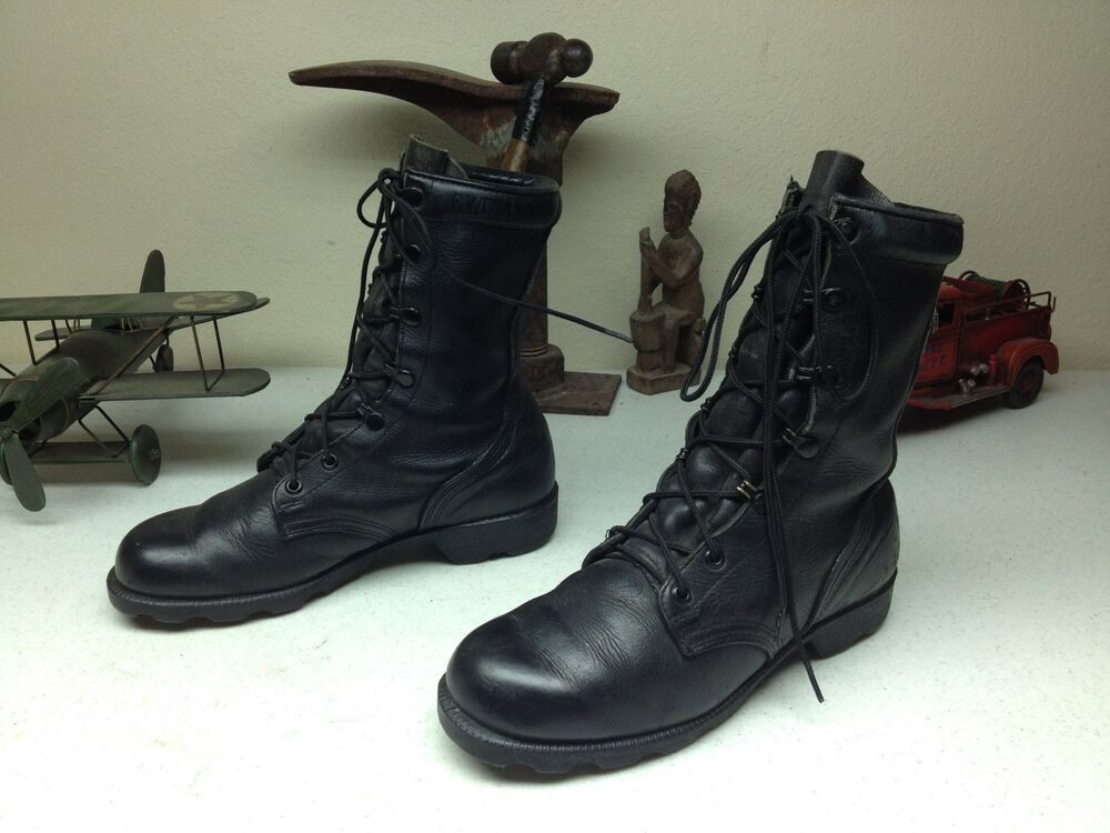 black leather 1997 vintage lace up combat army