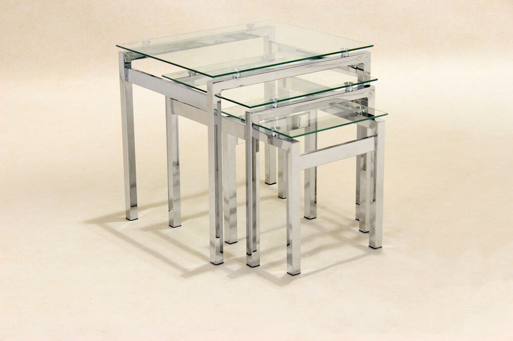 Set Of 3 Glass Tables: Nest Of Tables Clear Glass Chrome Three Piece Lamp Side