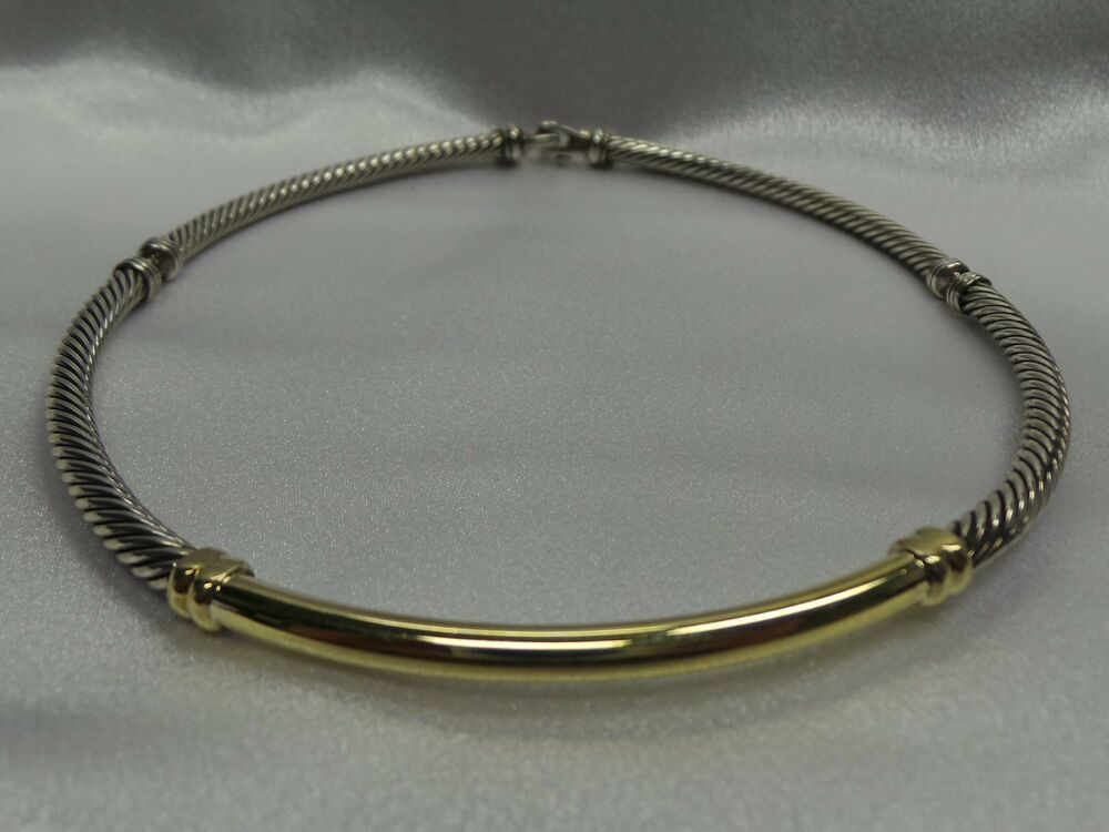 David Yurman 14k Gold And Silver Cable Necklace Cable Ebay