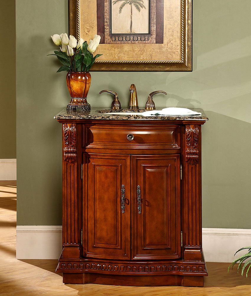 33 granite stone top single sink bathroom vanity cherry finish cabinet 206bb ebay for Best finish for bathroom cabinets