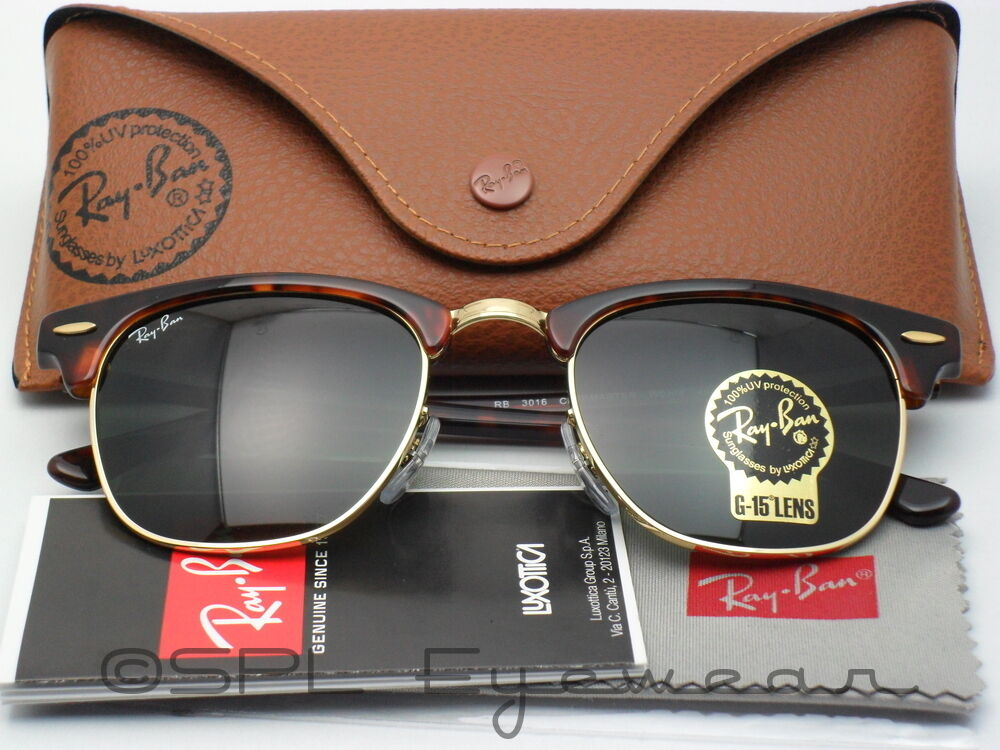 72a8c64f52 Ray Ban Clubmaster RB3016 W0366 51-21 Tortoise Green Classic G-15 Lens 51