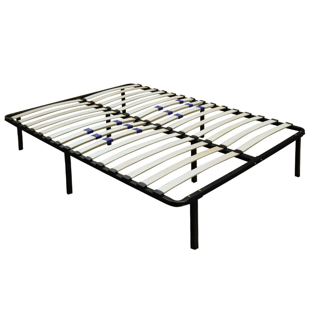 metal platform bed frame wood slats size queen king