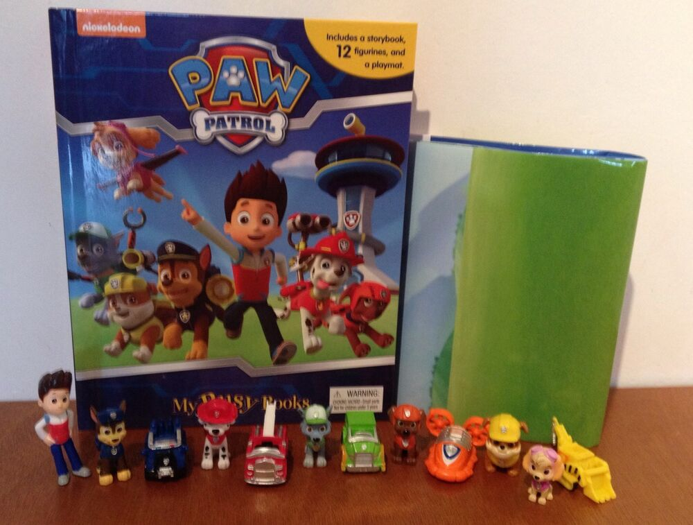 Kids Toys Action Figure: Paw Patrol My Busy Book + 12 Character Figurines & Playmat