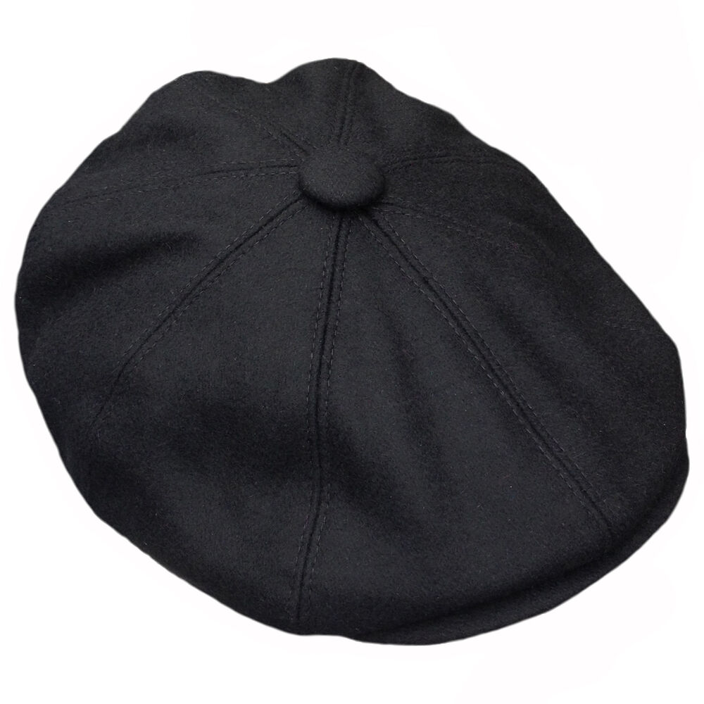 1f5e0c597fa Details about G   H Black Wool Newsboy 8 Panel Peaky Blinders Style 1920s  Gatsby Flat Cap Hat