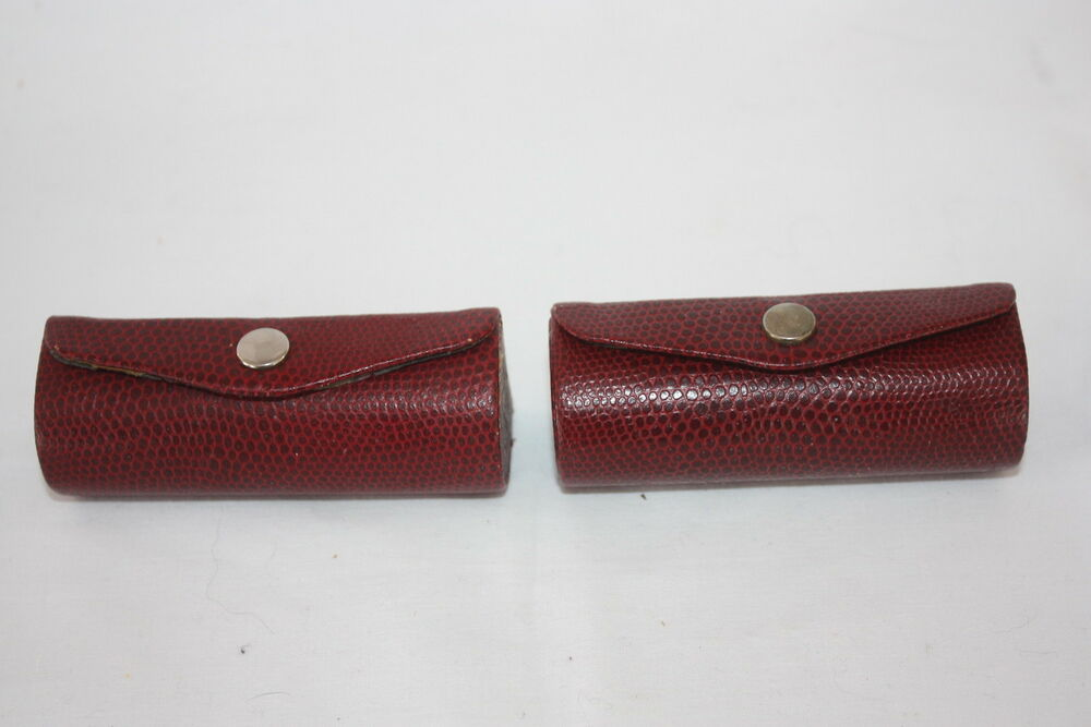 2 Vintage Red Leather Lipstick Purse Holders Cases With