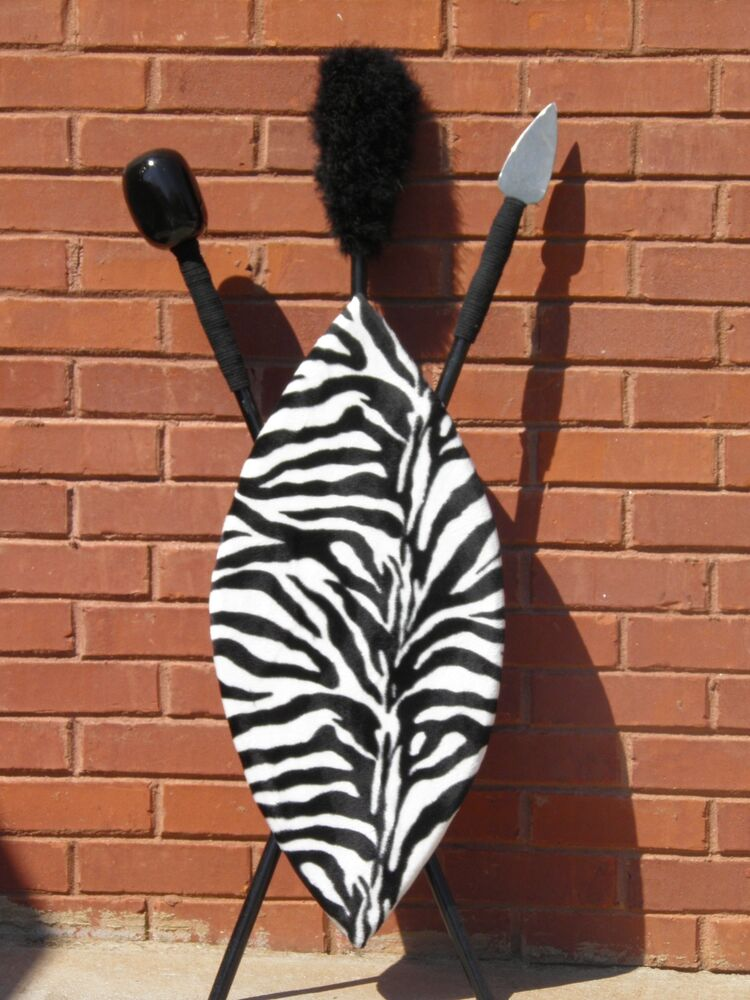 Hand Made Zebra African Shield And Spear With Black