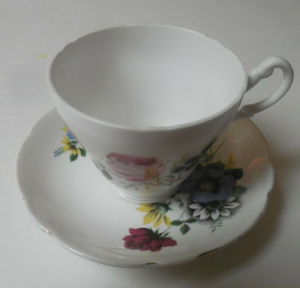Royal ascot bone china teacup saucer w flowers gold for Mode in england