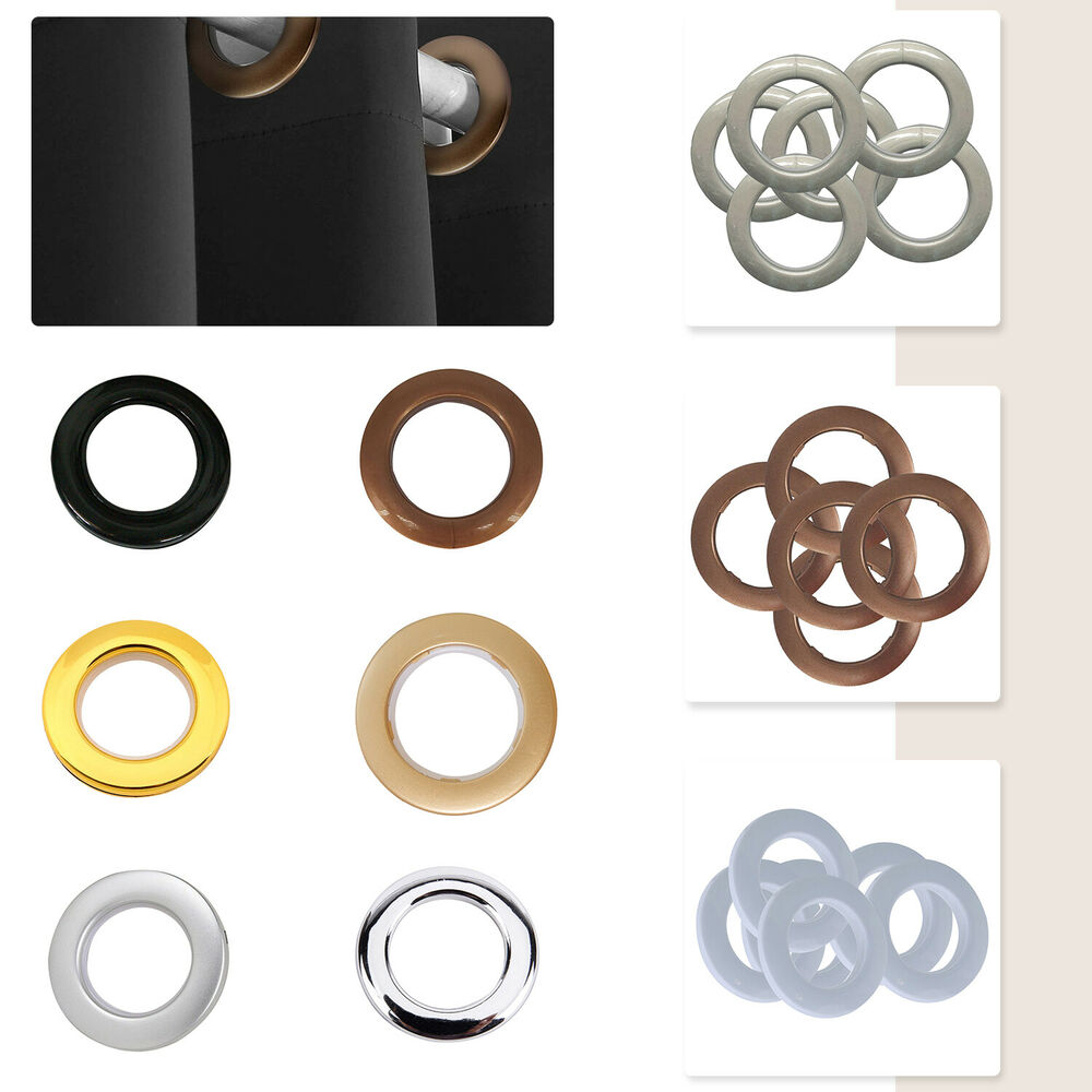 10 X 42mm Plastic Curtain Eyelets And Rings Clips Grommets Silver Or Gold Uk Ebay