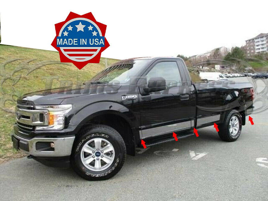 2015 2017 ford f 150 regular cab 8 39 long bed chrome rocker panel trim 4 3 4 ebay. Black Bedroom Furniture Sets. Home Design Ideas