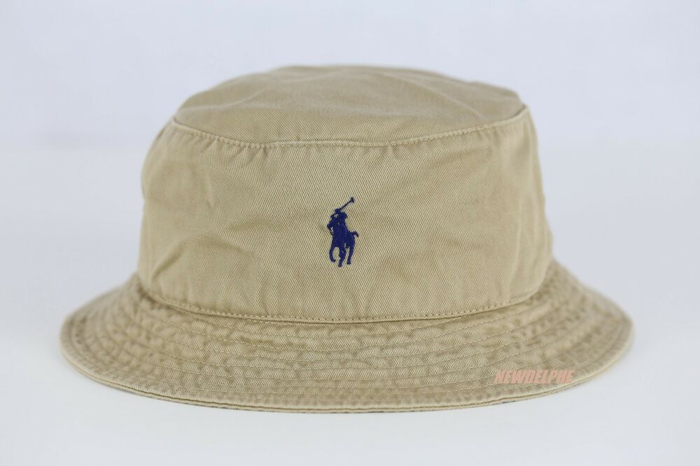 c7355fb9711 NWT POLO RALPH LAUREN Pony Beachside Bucket Hat CL KHAKI S M