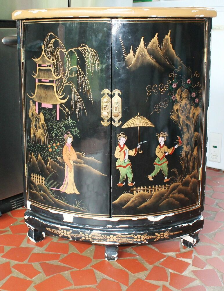 Vtg oriental chinese furniture black lacquer corner for Oriental cupboard