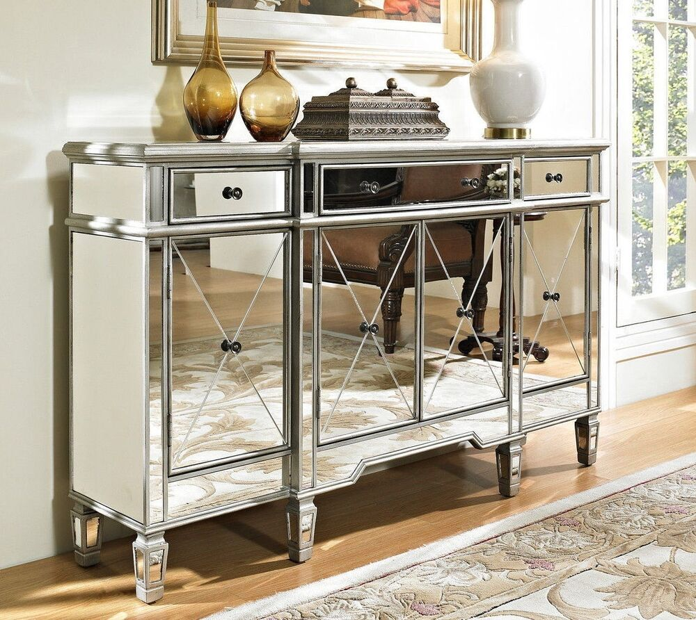Foyer Console Cabinet : Mirrored reflection andrea hall console cabinet model