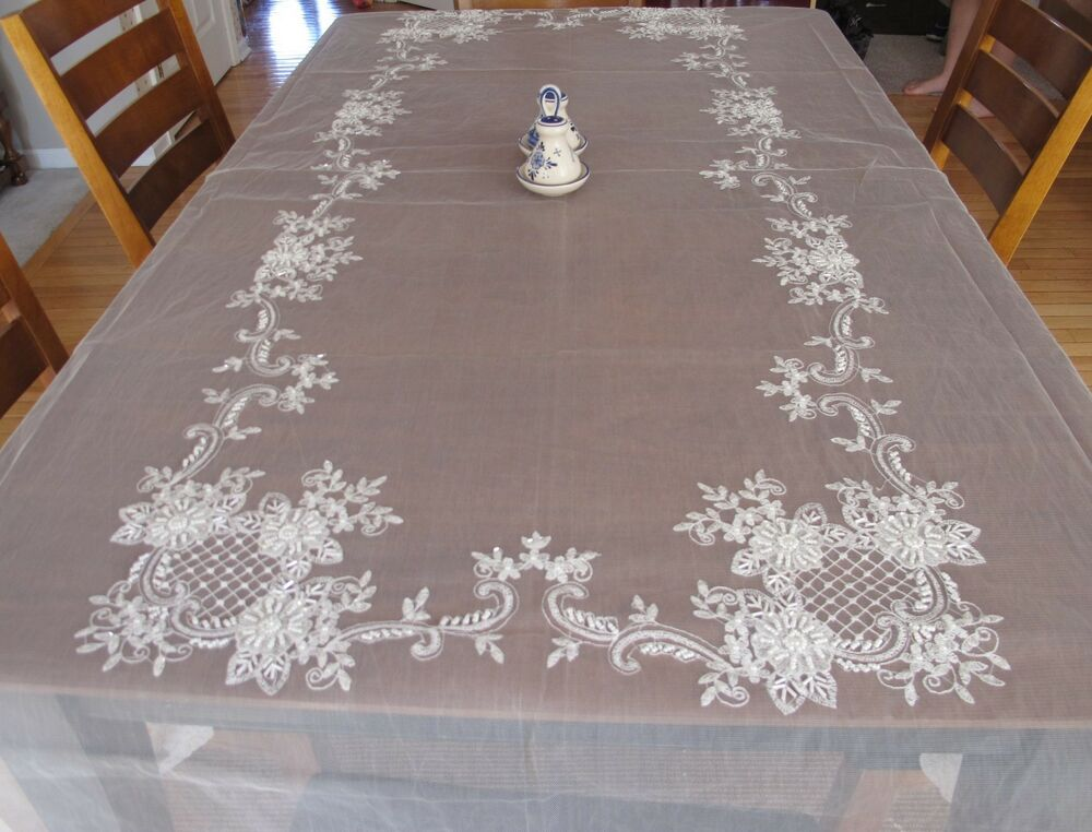 White Handmade 100 Polyester Wedding Tablecloth
