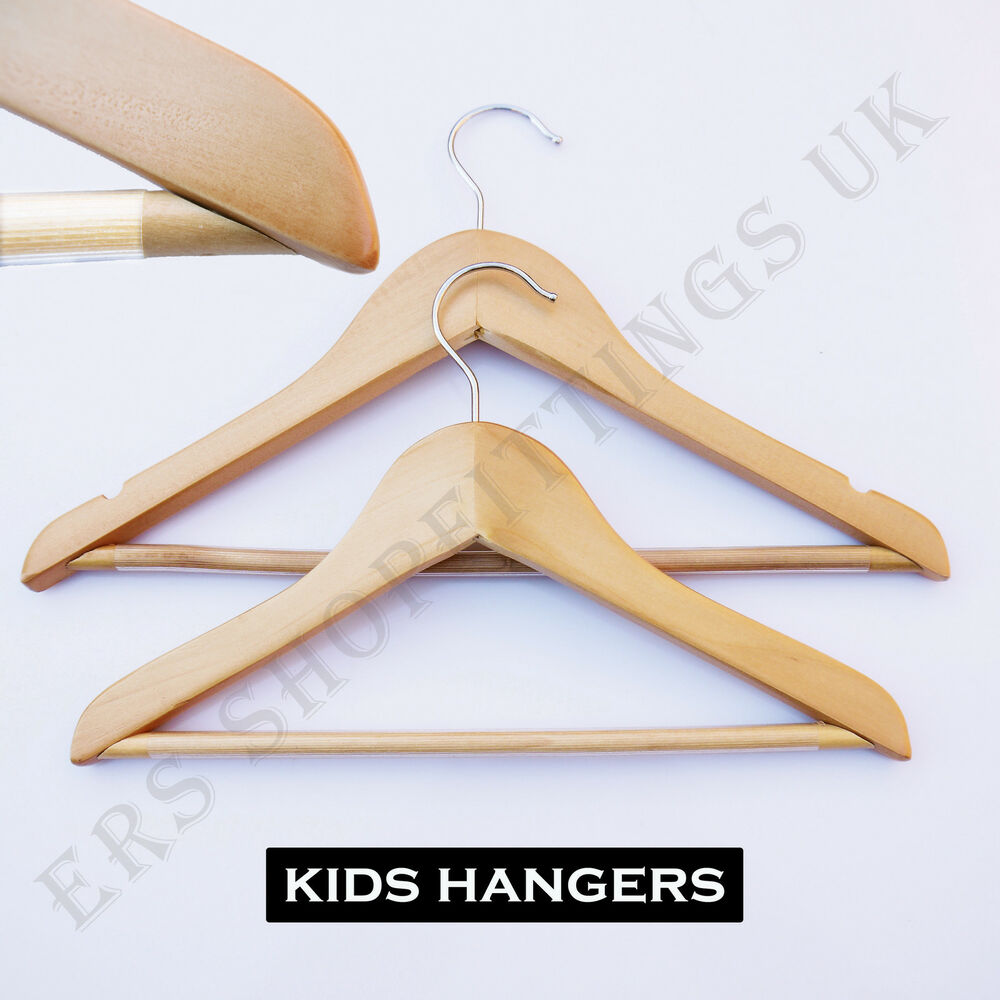 Childrenu0026#39;s wooden coat hangers with non slip bar or clips for kids clothes x 5 | eBay