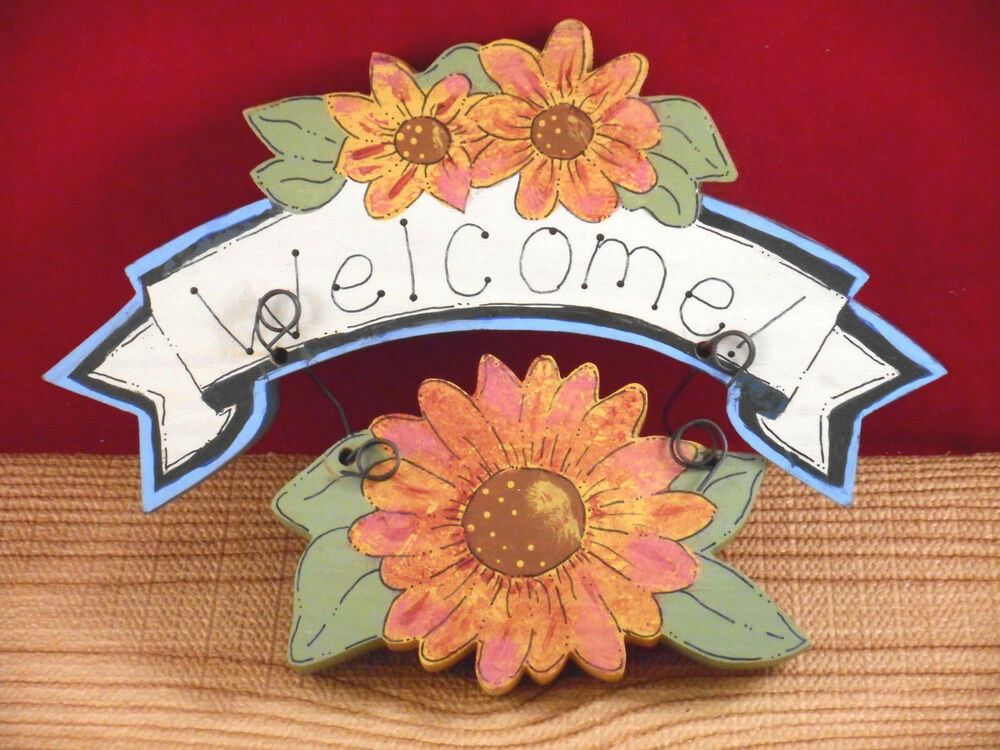 Country sunflower spring welcome home decor wall hanging for Welcome home decorations