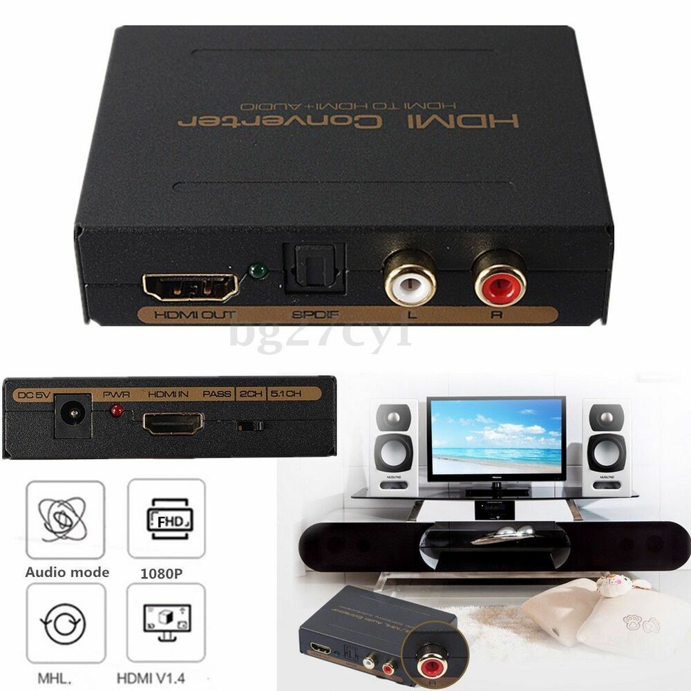 hdmi to hdmi optical spdif rca l r extractor converter audio splitter 1080p ebay. Black Bedroom Furniture Sets. Home Design Ideas