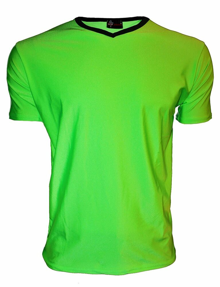 Men 39 S Neon Uv Bright Lycra Green V Neck Top T Shirt Party