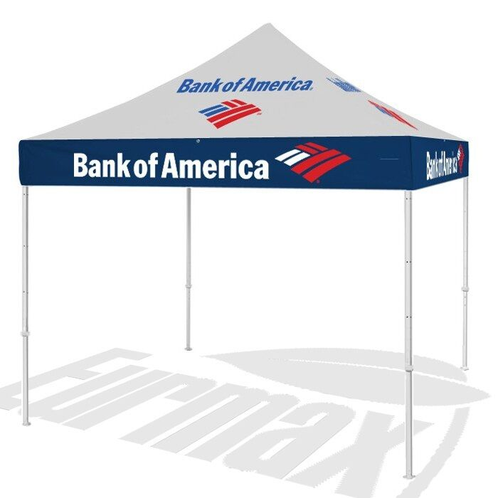 10x10 Custom Logo Graphics Printed Ez Pop Up Canopy