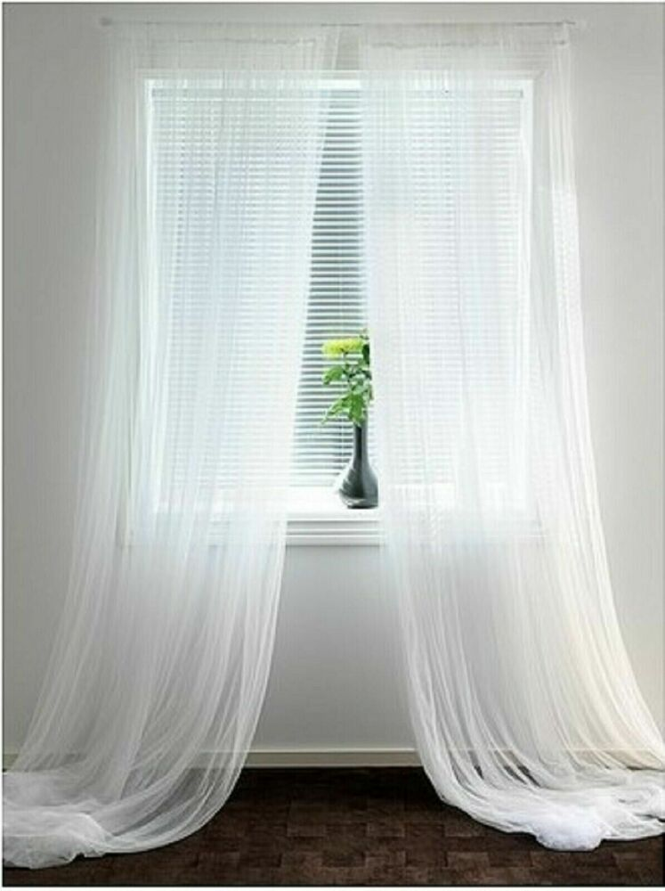 Ikea Lill Curtains Sheer White 2 Panels 110x98 Bed Canopy