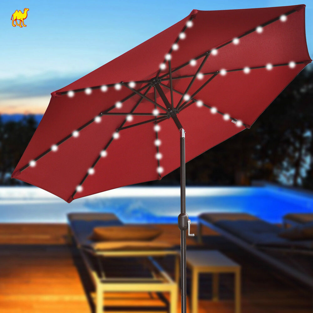 BRAND NEW 9' SOLAR 40 LED LIGHTS PATIO UMBRELLA GARDEN