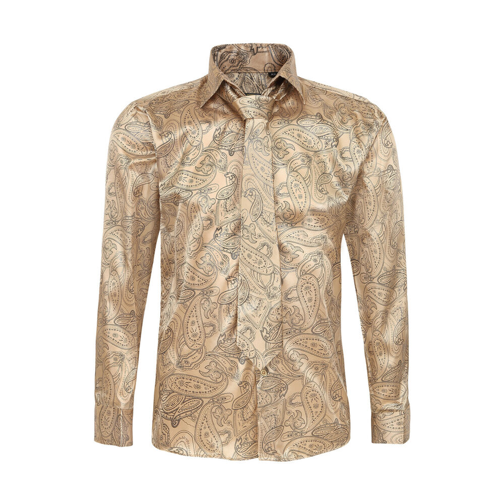 Men 39 s satin paisley pattern italian design shirt with for Mens shirts with matching ties