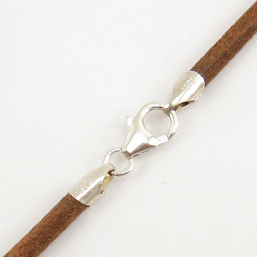 2mm Natural Round Leather Cord Necklace Choker 925