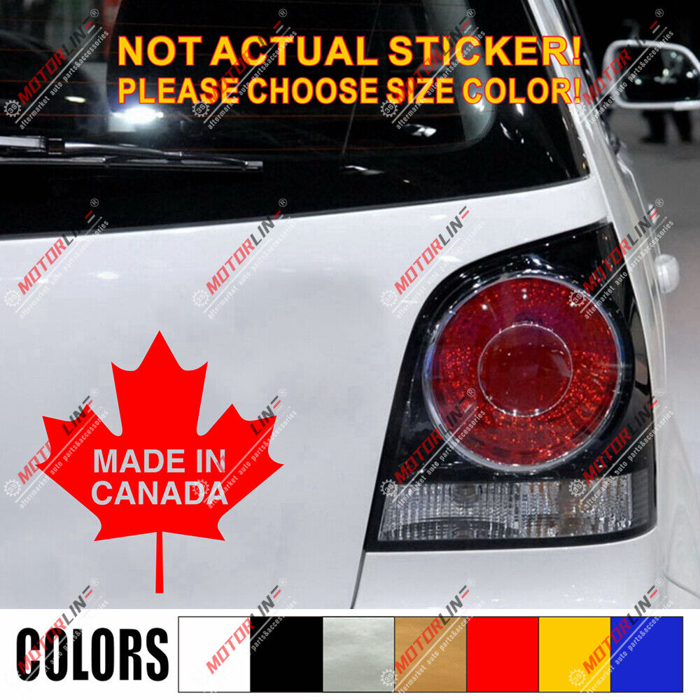 Made In Canada Maple Leaf Funny Canadian Car Decal Sticker