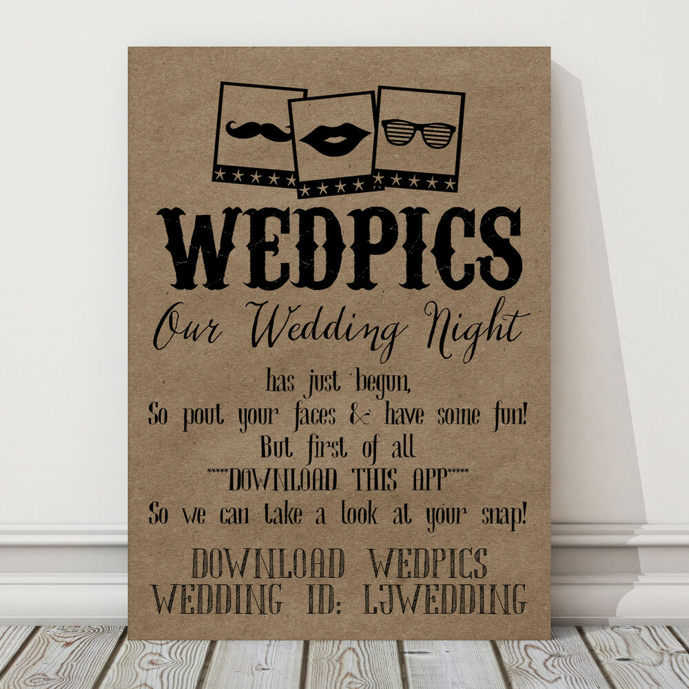 Personalised A4 WedPics App Photo Booth Sign Wedding Props