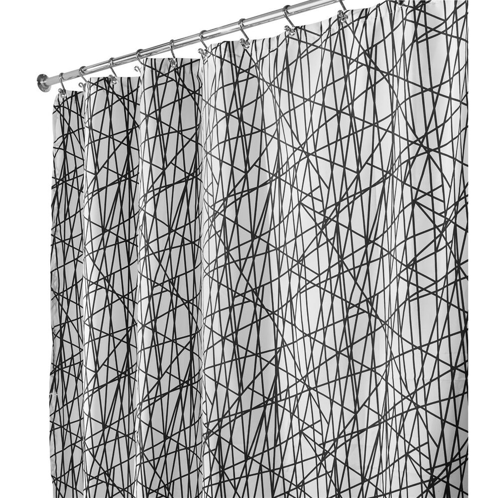 ... Long Shower Curtain, Black/White, 72 Inches X 84 Inches , N | eBay