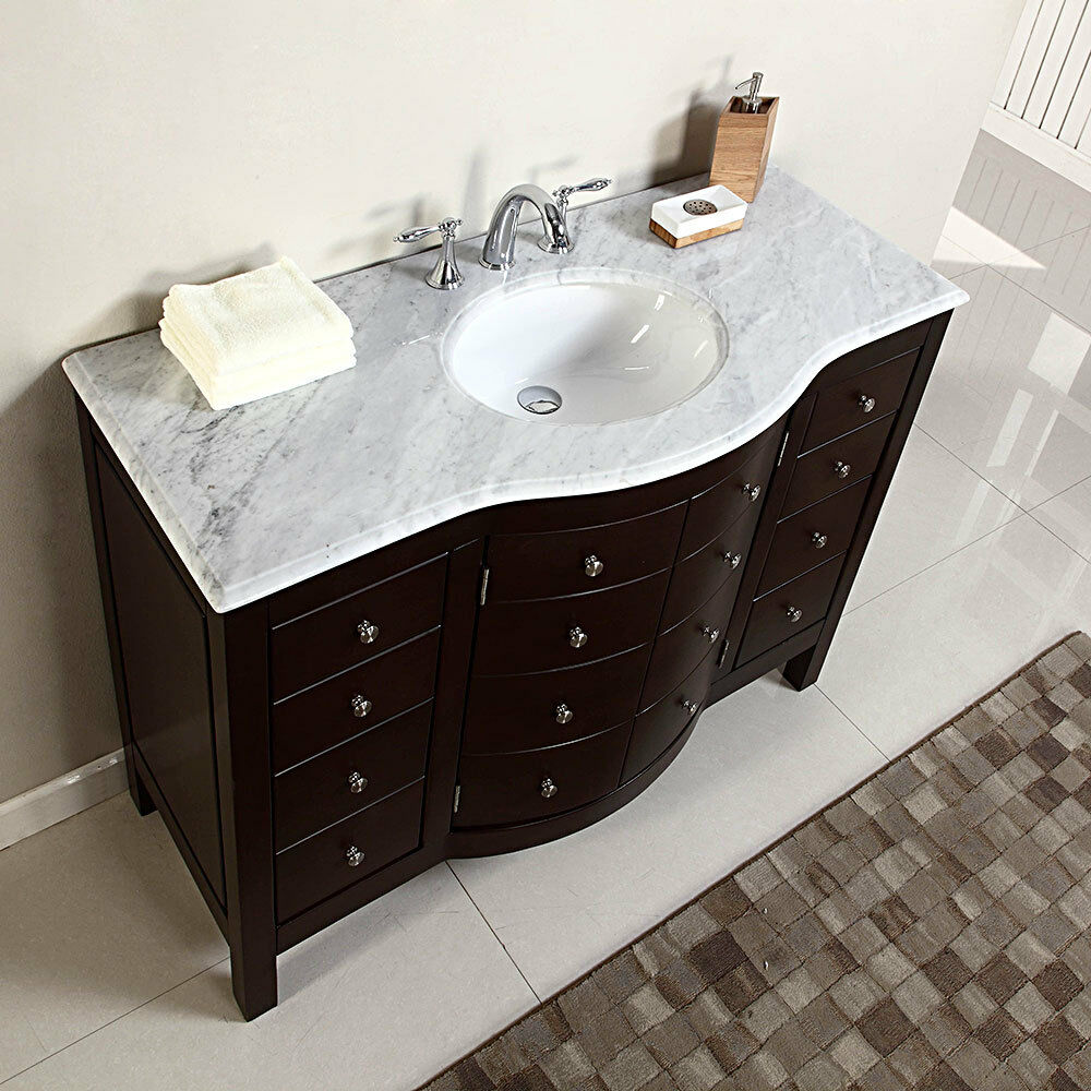 48 single sink white marble top bathroom vanity cabinet for Bath vanities with tops