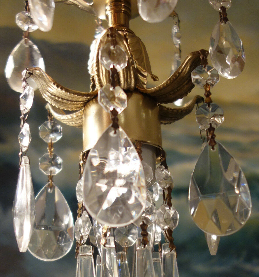 1of7 Swag Hanging Mini Lily Lamp Chandelier Crystal Prism
