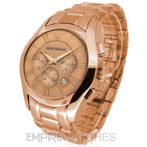 new mens emporio armani rose gold chronograph watch ar0365 rrp ebay. Black Bedroom Furniture Sets. Home Design Ideas
