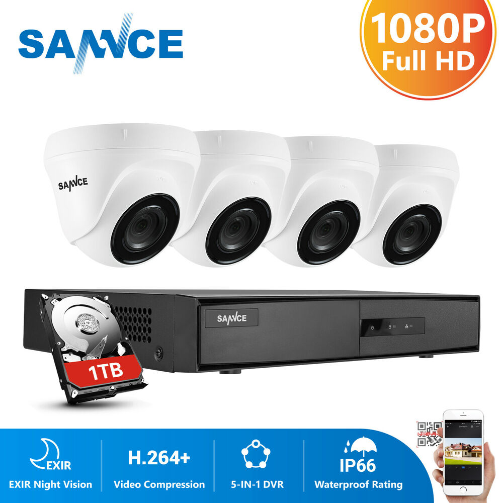 Exterior Home Security Cameras: SANNCE 1080P 8CH HDMI DVR Outdoor Home Video 1500TVL