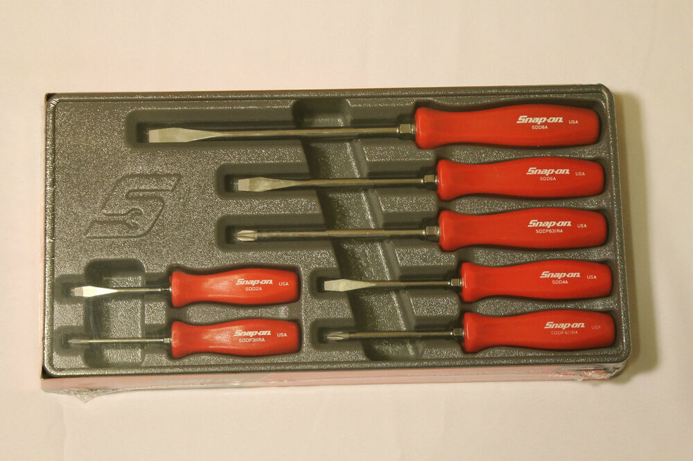 snap on 7 piece rare red hard handle combination screwdriver set brand new ebay. Black Bedroom Furniture Sets. Home Design Ideas