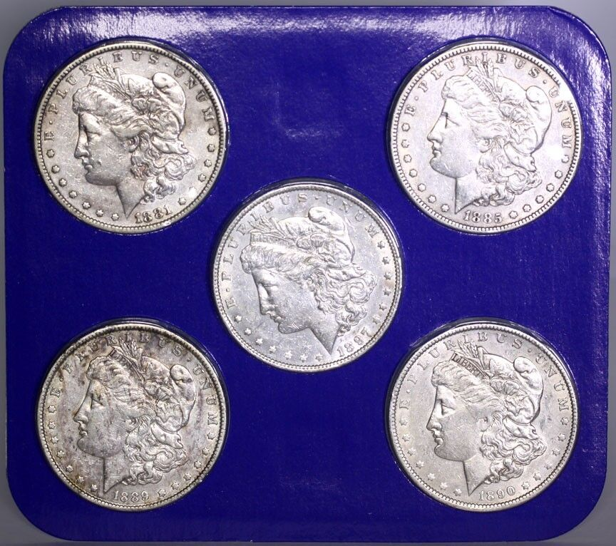 The Morgan Dollar Collection 5 Coin Set W Box Amp Coa 1881